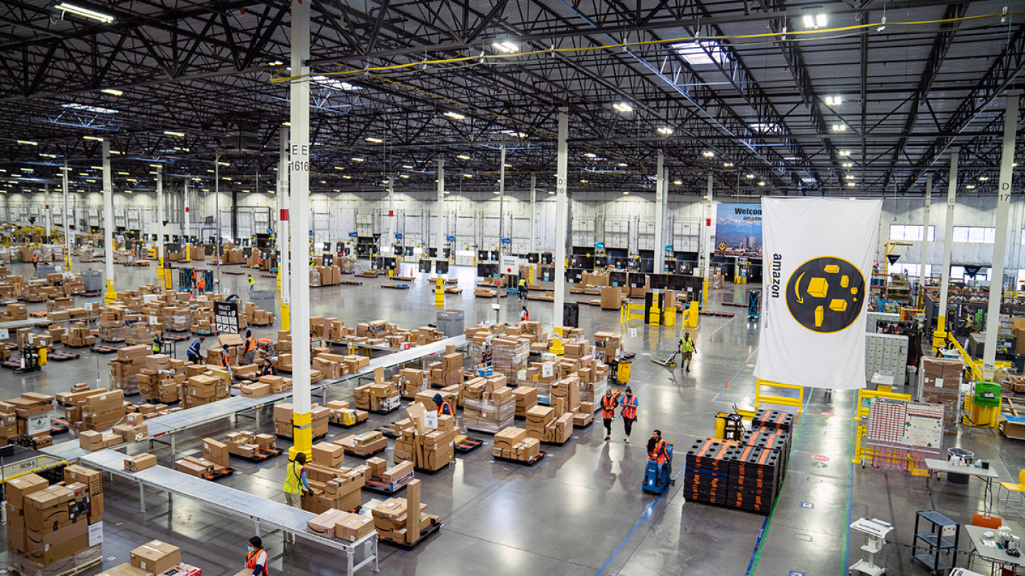 An aerial view of the inside an Amazon facility