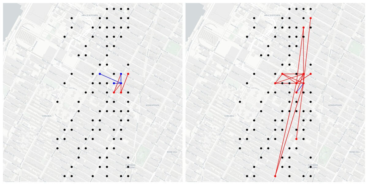 Side-by-side images depict correlations between taxi traffic at different points in Manhattan at different times of day