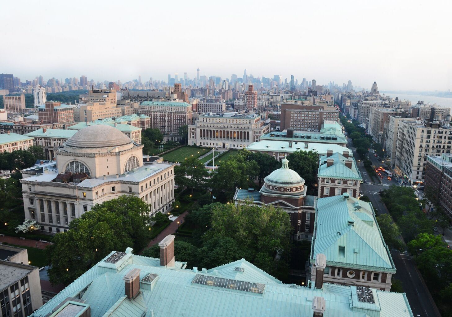 Aerial view of Columbia University campus in New York City.