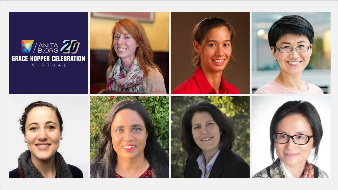 Headshots of female Amazon scientists participating in the Grace Hopper Conference.