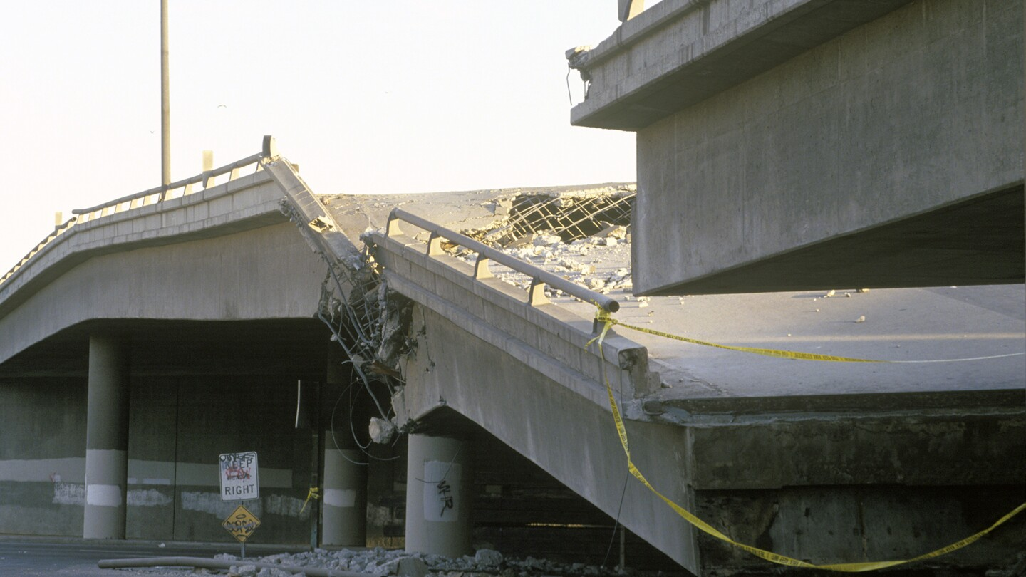 Pictured above is an overpass that collapsed on Highway 10 in the Northridge/Reseda, California area, which was at the epicenter of a 1994 earthquake.