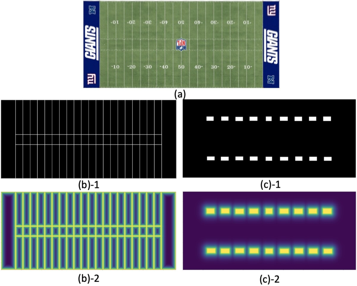 Maps of linear and regional features of an American football field using normalized distances between black and white pixels