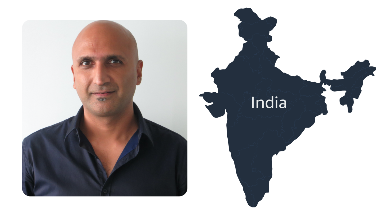 Rajeev Rastogi headshot with map of India