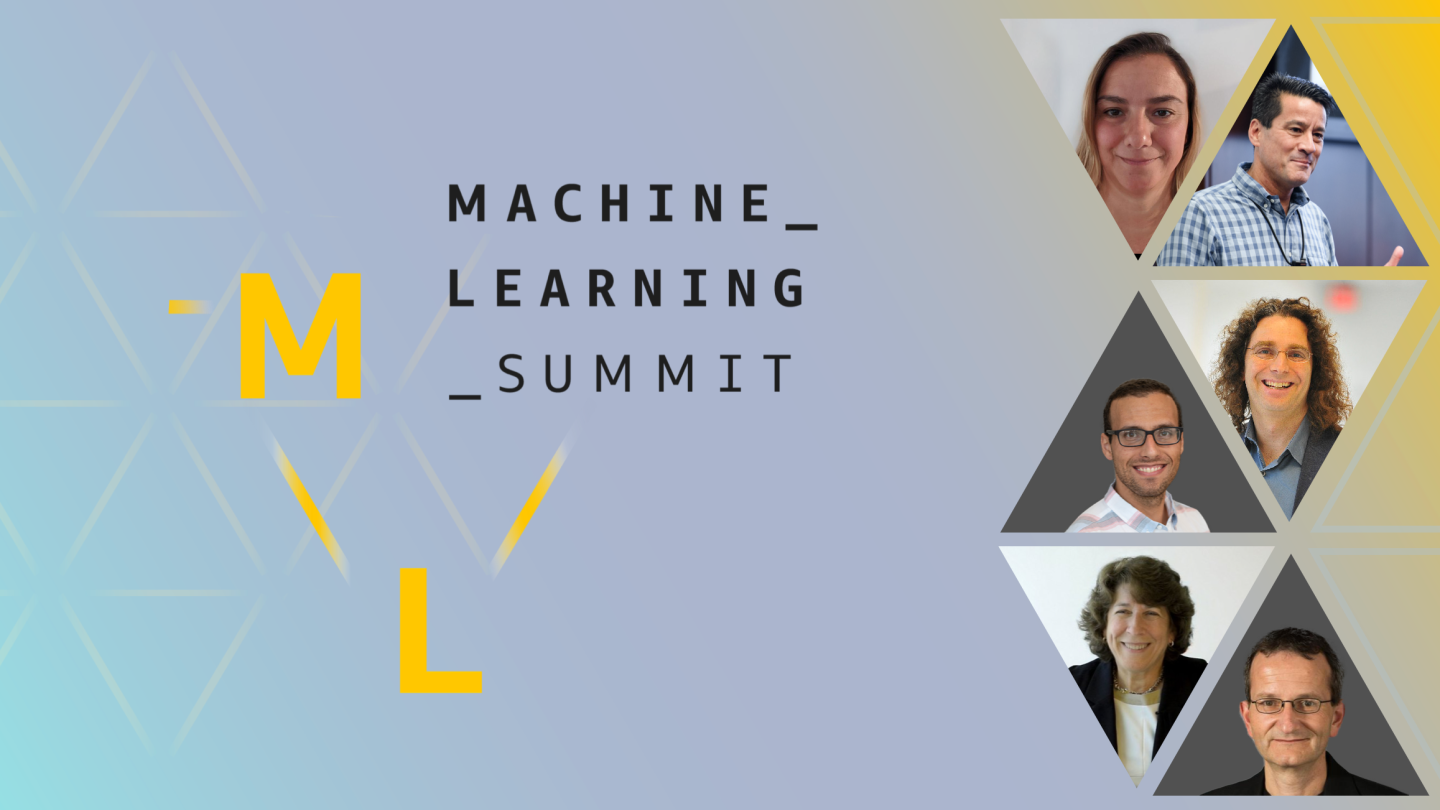 The AWS machine learning summit logo and profile images of the six science track speakers