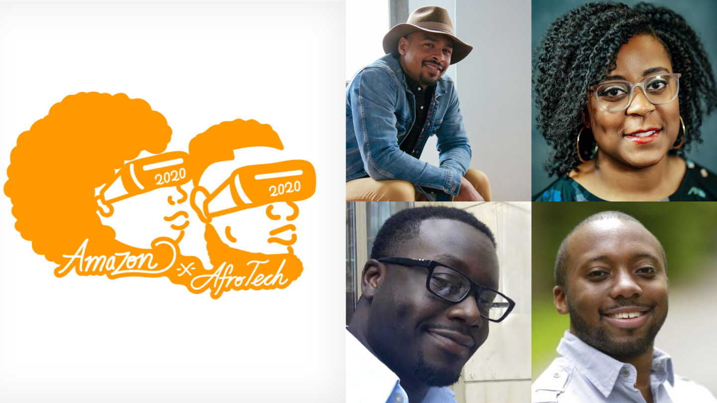AfroTech logo and headshots of  Dela Agbemabiese, Justin Barry, Nashlie Sephus and Colby Wise.