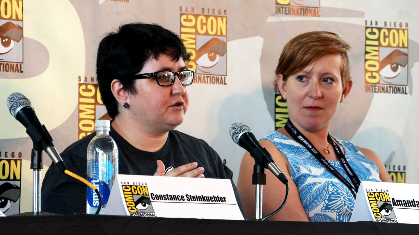 Amanda Cullen, left, is seen speaking at 2017 San Diego Comic Con panel. To her right is Dr. Bo Ruberg.