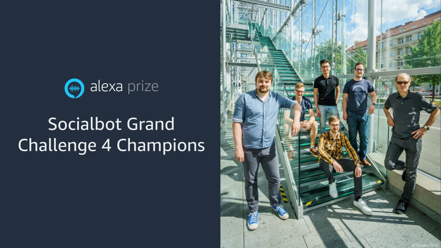 On the left is the logo for the Alexa Prize Socialbot Grand Challenge 4. On the right is a group photo of Team Alquist from Czech Technical University which won the Alexa Prize SocialBot Grand Challenge 4 competition.