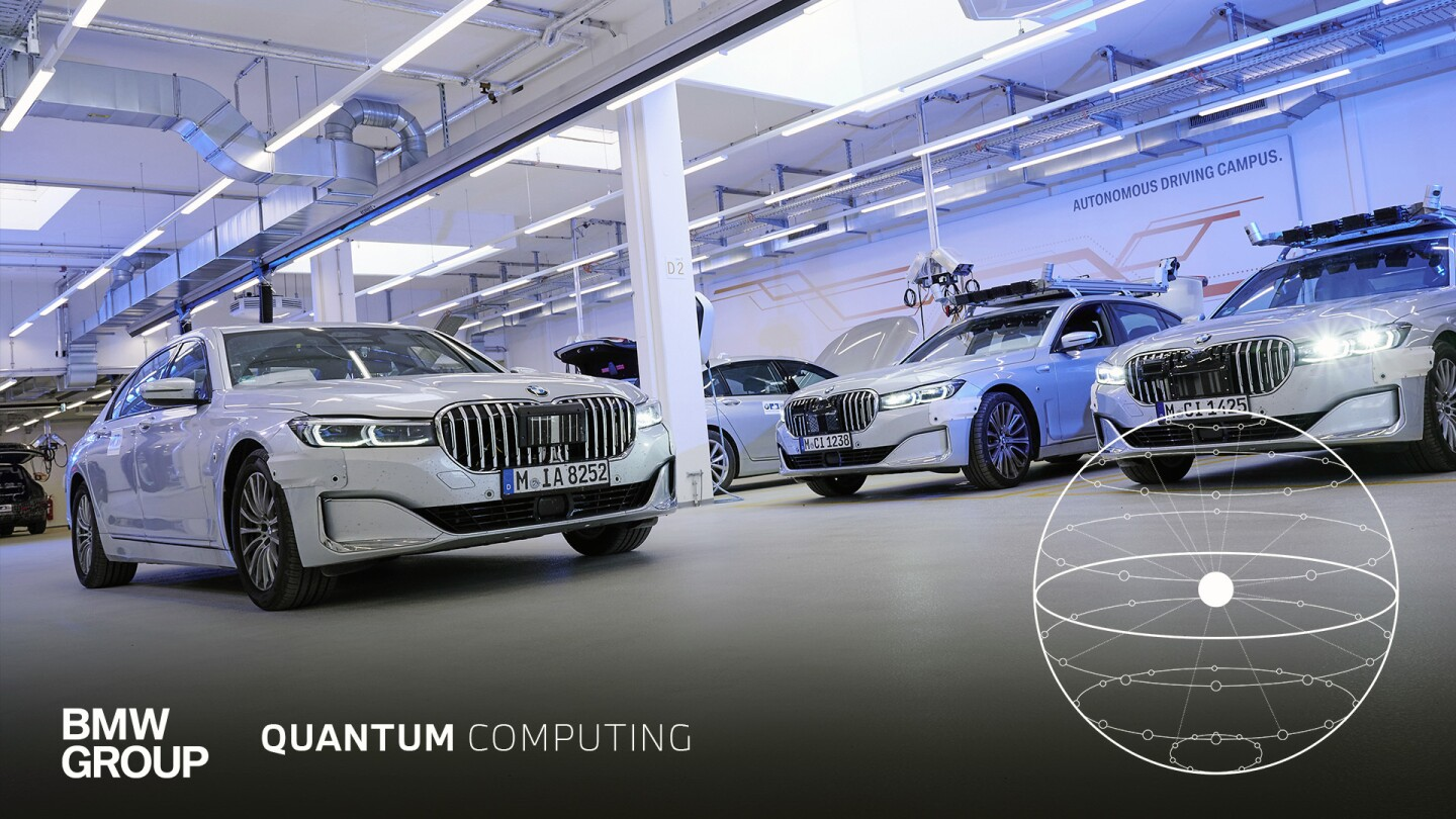 This image shows several white BMW vehicles parked in a facility with the words autonomous driving campus printed on a wall in the back. The BMW Group name and logo appear on the bottom along with the words quantum computing.