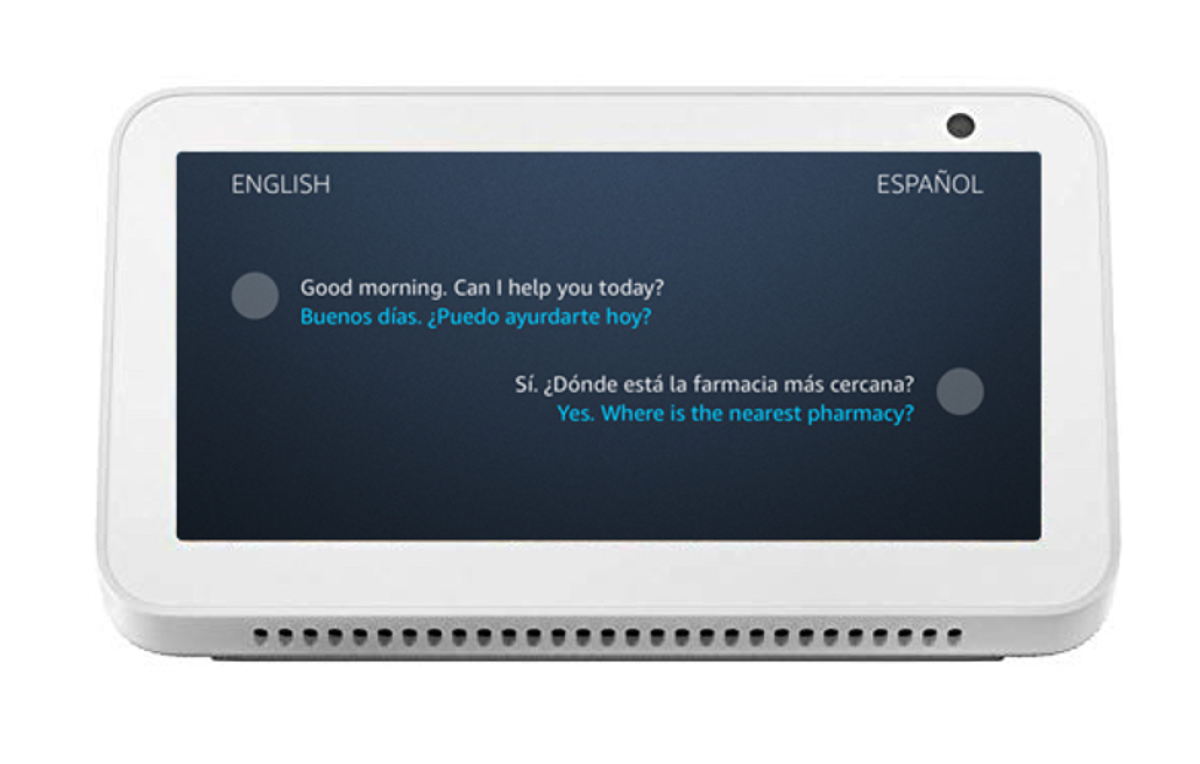 A sample interaction with Alexa Live Translation.