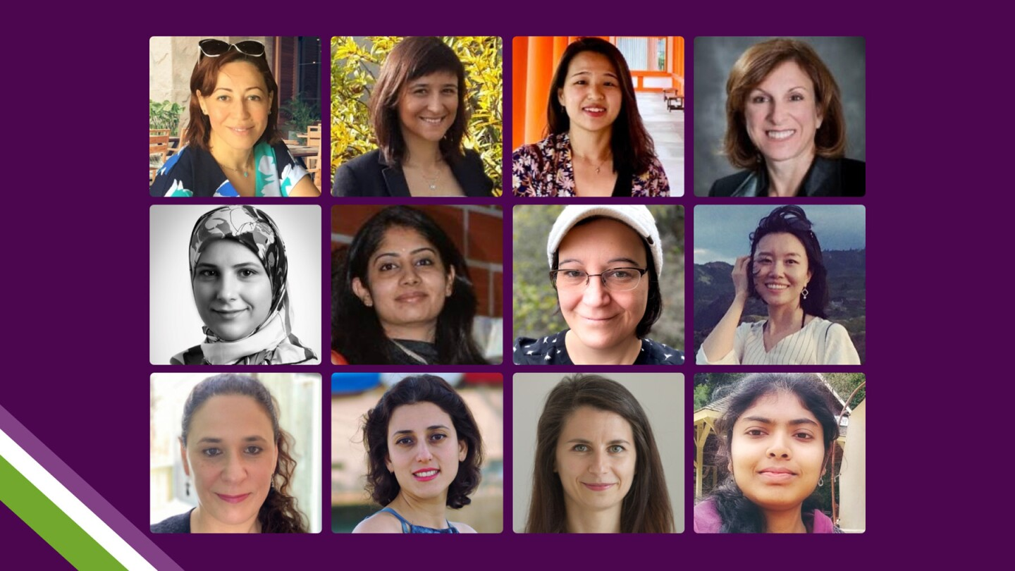 A grid of 12 women scientists who were asked what three steps we can take as a society to forge a more gender-equal science community