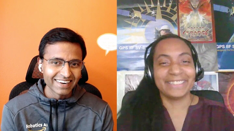 A split screen screengrab from a video interview shows Siddhartha Srinivasa, left, director of Amazon Robotics AI, and Nia Jetter, Amazon Robotics AI senior principal technologist, right