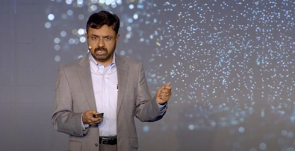 Prem Natarajan, Alexa AI vice president of natural understanding, giving a presentation