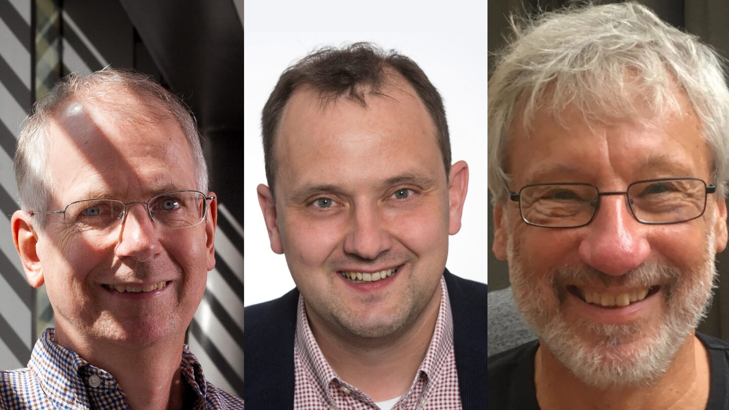 Left to right: William Cook, professor of combinatorics and optimization at the University of Waterloo; Stephan Held, associate professor with the Research Institute for Discrete Mathematics at the University of Bonn, Germany; and Keld Helsgaun, associate professor emeritus in computer science at Roskilde University, Denmark.