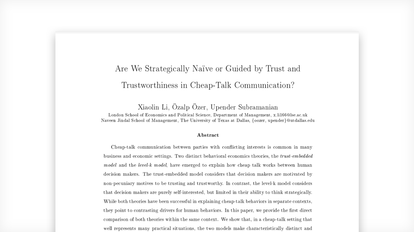 Are We Strategically Naive or Guided by Trust and Trustworthiness in Cheap-Talk Communication.png